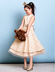 A-Line Jewel Neck Tea Length Lace Junior Bridesmaid Dress with Bow(s) Flower(s) Sash / Ribbon by LAN TING BRIDE®