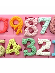 cheap -Large Size 0-9 Numbers Shaped Fondant Cake Chocolate Silicone Mold SM-318