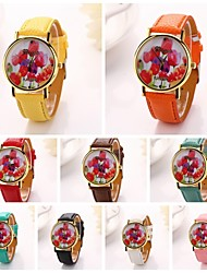Women  Tulip Printing  Pu Leather  Brand Luxury Lady Bracket Dress Wristwatch (Assorted Colors)C&D-204 Cool Watches Unique Watches Fashion Watch