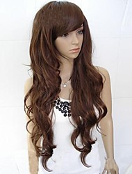 cheap -Synthetic Wig Curly Asymmetrical Haircut / With Bangs Synthetic Hair Natural Hairline Black / Dark Brown Wig Women's Long Capless