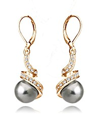 Women's Drop Earrings Basic Crystal Imitation Pearl Gold Plated Gray Pearl Black Pearl Jewelry For Wedding Party Daily Casual