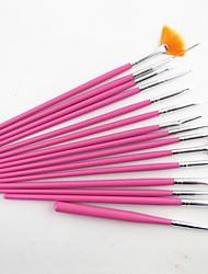 15pcs rosa design nail art pittura illustrazione pennello penna di legno stabilita pennello manico in acrilico