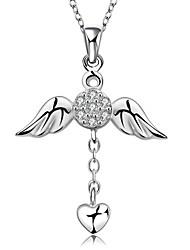 baratos -Mulheres Diamante sintético Prata de Lei Zircão Zircônia Cubica Gargantilhas Colares com Pendentes Pingentes  -  Amor Fashion Branco Colar