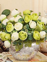 """baratos -8.6 """"h estilo moderno rosas simulação pano de seda no vaso de vidro de prata"""