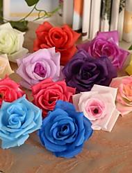 economico -6 pezzi 1 Ramo Seta Plastica Rose Fiori da tavolo Fiori Artificiali