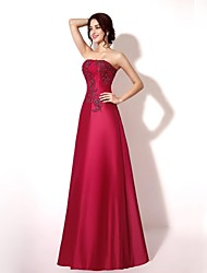 cheap -A-Line Strapless Floor Length Lace Taffeta Formal Evening Dress with Beading Appliques Lace by Sarahbridal