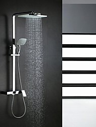 cheap -Contemporary Shower System Rain Shower Waterfall Handshower Included Ceramic Valve Single Handle Three Holes Chrome, Shower Faucet
