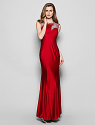 Sheath / Column Jewel Neck Floor Length Jersey Mother of the Bride Dress with Beading Sequins by LAN TING BRIDE®