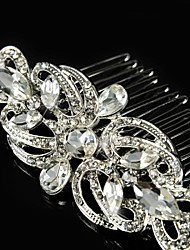 cheap -Vintage Wedding Party Bride Flower Austria Crystal Silver Combs Hair Accessories