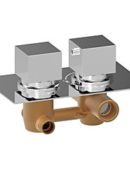 cheap -Contemporary Wall Mounted Thermostatic Brass Valve Two Holes Two Handles Two Holes Chrome , Shower Faucet