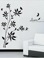 amovible romantique fleur rotin noir de chambre / salon canapé autocollant de mur de toile de fond