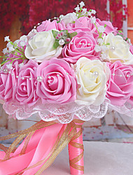 cheap -A Bouquet of 30 PE Simulation Roses Wedding Bouquet Wedding Bride Holding Flowers,Light Pink and White