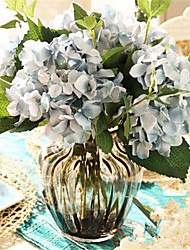 cheap -Five Blue Hygrangeas Artifical Flowers With Grey Vase