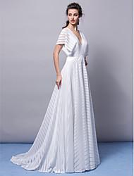 A-Linie V-Ausschnitt Pinsel Schleppe Jersey Formeller Abend Gala Kleid mit Schärpe / Band Plissee durch TS Couture®
