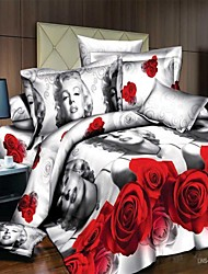 Duvet Cover Set,3D Rose Pattern Flat Sheet Bed Sheet Duvet Cover and Pillow Covers Queen Size Bedding Set