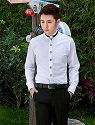 camicia bianca solida del cotone / poliestere lungo del manicotto del mandarino per i vestiti