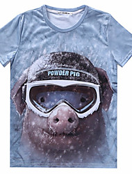 preiswerte -Informell/Business Rund - Kurzarm - MEN - T-Shirts ( Baumwoll Mischung )
