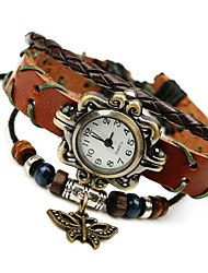 cheap -Women's Fashion Sweet Temperament Wild Leather Butterfly Beaded Bracelet Watch Cool Watches Unique Watches