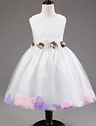 A-Line Princess Knee Length Flower Girl Dress - Tulle Sleeveless Scoop Neck by YDN