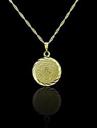 abordables -Oro verdadero 18k plateó allah musulmán colgante moneda de 2 * 3cm