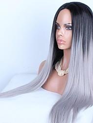 billige -Syntetiske parykker Lige Assymetrisk frisure Syntetisk hår Natural Hairline Sort / Grå Paryk Dame Lang Lågløs