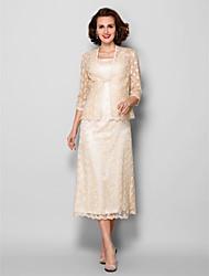 Tubinho Decote Quadrado Longuette Renda Vestido Para Mãe dos Noivos - Broche de Cristal de LAN TING BRIDE®