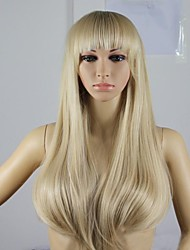 cheap -Synthetic Wig Straight Asymmetrical Haircut Synthetic Hair Natural Hairline Blonde Wig Women's Long Capless