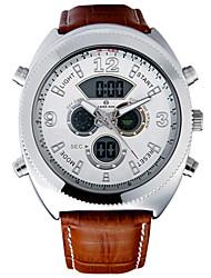 Недорогие -Мужской Спортивные часы Кварцевый LCD Календарь Секундомер Защита от влаги С двумя часовыми поясами тревога Кожа Группа Черный Коричневый