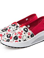 Damen-Loafers & Slip-Ons-Lässig-Leinwand-KeilabsatzRot/Weiß