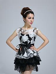 cheap -Women's Casual Loose Sheath Skater Dress Pleated Mesh Print