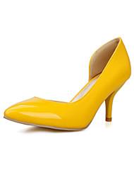 cheap -Women's Heels Comfort PU Spring Summer Fall Wedding Dress Party & Evening Walking Comfort Stiletto Heel White Black Yellow Ruby3in-3