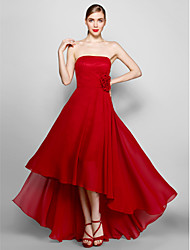 cheap -A-Line Strapless Asymmetrical Chiffon Formal Evening Dress with Flower by TS Couture®
