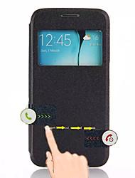 preiswerte -Cwxuan Hülle Für Samsung Galaxy Samsung Galaxy Hülle mit Halterung / mit Sichtfenster / Automatischer Ruhe / Aktivmodus Ganzkörper-Gehäuse Solide PU-Leder für S6 edge
