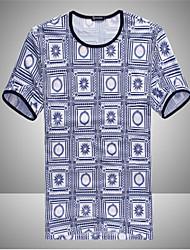 abordables -bloqueo de las redes de los hombres impreso camisa de mangas cortas