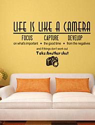 cheap -Wall Stickers Wall Decals, Style Life is Like English Words & Quotes PVC Wall Stickers