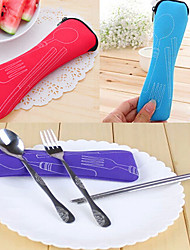 cheap -Set of 3 Travel Camping Spoon Fork Chopsticks Set with Storage Bag (Random Color) 20*7*3 cm