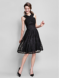 cheap -A-Line V-neck Knee Length Lace Bridesmaid Dress with Criss Cross Ruching by LAN TING BRIDE®