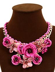 preiswerte -Damen Rosen Blume Statement Ketten  -  Geflochten Fest / Feiertage Erklärung Grün Blau Rosa Modische Halsketten Für Party Besondere