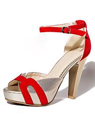 Žene Cipele Umjetna koža Eko brušena koža Proljeće Ljeto Stiletto potpetica Platformske cipele Kopča za Formalne prilike Crn Crvena