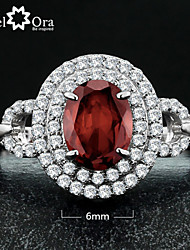 Nobile Party Natural Garnet Ring Sparkling Fine Jewelry Genuine 925 Sterling Silver Rings For Women