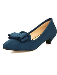 baratos -Feminino Sapatos Camursa Sintética Primavera Verão Outono Inverno Salto Baixo Laço Para Social Preto Vermelho Azul