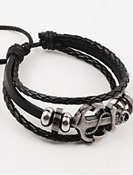 economico -Per uomo Dell'involucro del braccialetto Bracciali d'epoca Bracciali in pelle Con perline Fatto a mano bigiotteria Pelle Lega Ancora