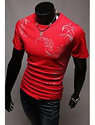 preiswerte -Vintage/Informell/Party/Business Kurzarm - MEN - T-Shirts ( Baumwolle/Kunstseide )