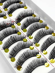 cheap -10 Pairs High Quality Natural Long Black False Eyelashes Handmade Full Bushy Lashes Makeup Eyelashes Extensions