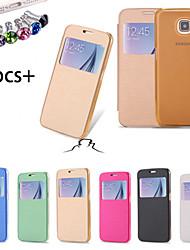 billige -Etui Til Samsung Galaxy Samsung Galaxy Etui med vindu / Flipp Heldekkende etui Ensfarget PU Leather til S6
