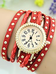 Women's European Style Fashion Rivets Multilayer Weave Bracelet Watch