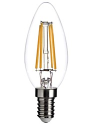 4W E14 LED Filament Bulbs C35 COB 300-350 lm Warm White 2800-3200 K Dimmable Decorative AC 220-240 V 1pc