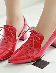 cheap -Women's Shoes Patent Leather Spring / Summer / Fall Chunky Heel Lace-up Black / Red / Blue