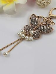 economico -moda unisex lega brillante diamante simulato-perla ciondolo portachiavi farfalla nappa