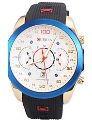 человека кварцевые наручные часы круглый циферблат моды силиконовый ремешок с календарем (разных цветов)